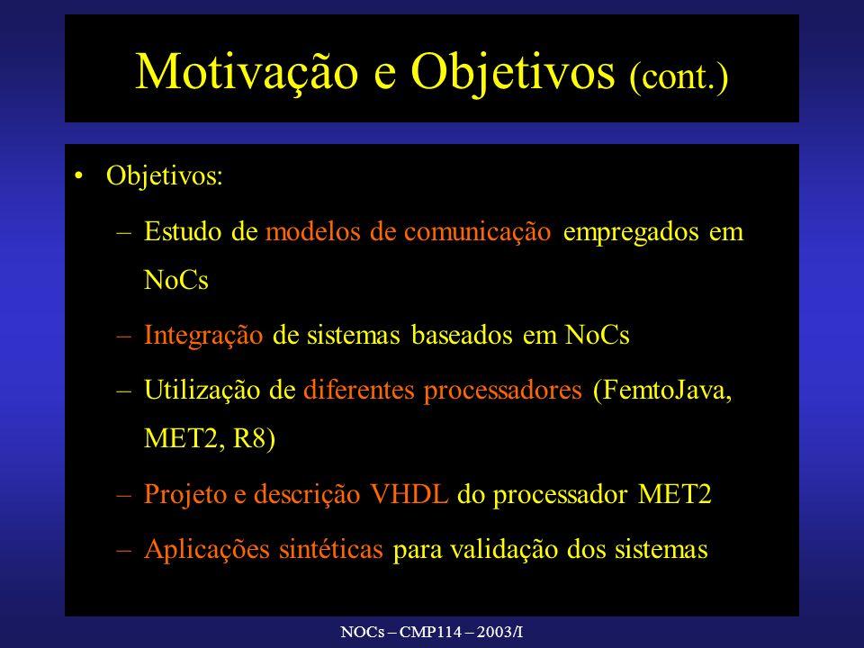 NOCs – CMP114 – 2003/I Motivação e Objetivos (cont.) Objetivos: – –Estudo de modelos de comunicação empregados em NoCs – –Integração de sistemas baseados em NoCs – –Utilização de diferentes processadores (FemtoJava, MET2, R8) – –Projeto e descrição VHDL do processador MET2 – –Aplicações sintéticas para validação dos sistemas