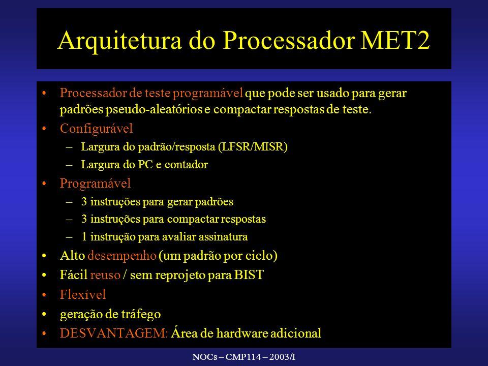 NOCs – CMP114 – 2003/I Arquitetura do Processador MET2 Processador de teste programável que pode ser usado para gerar padrões pseudo-aleatórios e comp