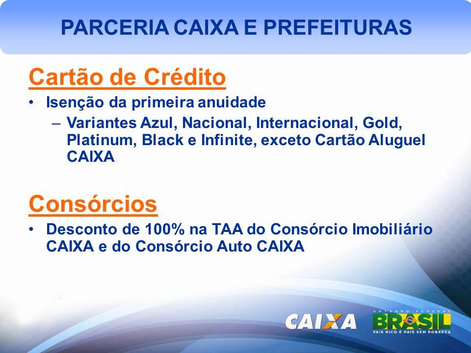 PARCERIA CAIXA E PREFEITURAS Cartão de Crédito Isenção da primeira anuidade –Variantes Azul, Nacional, Internacional, Gold, Platinum, Black e Infinite