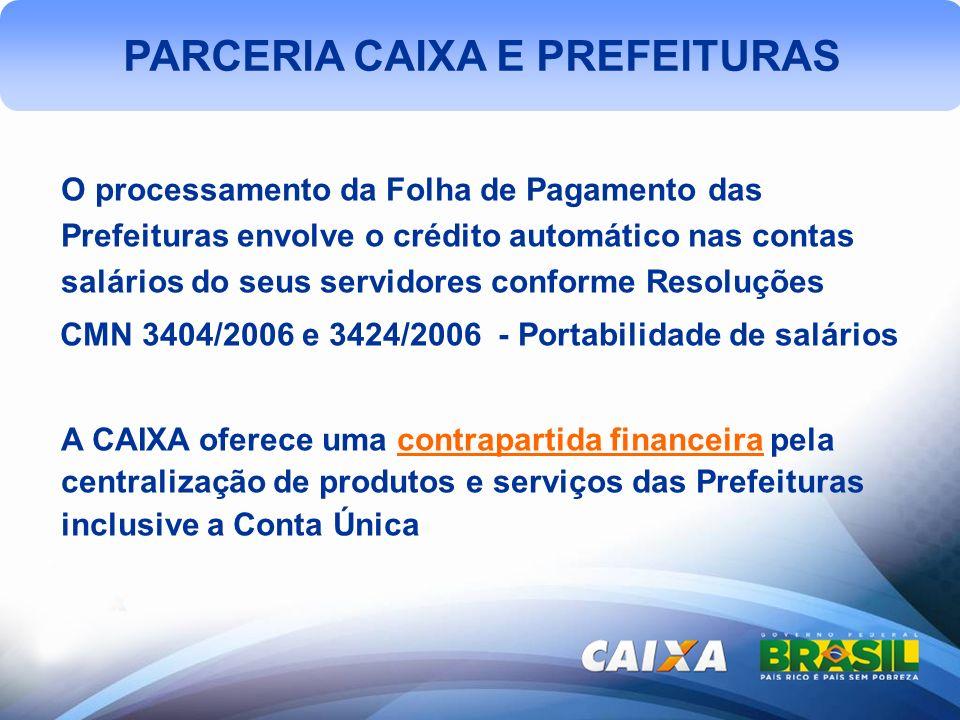 PARCERIA CAIXA E PREFEITURAS O processamento da Folha de Pagamento das Prefeituras envolve o crédito automático nas contas salários do seus servidores