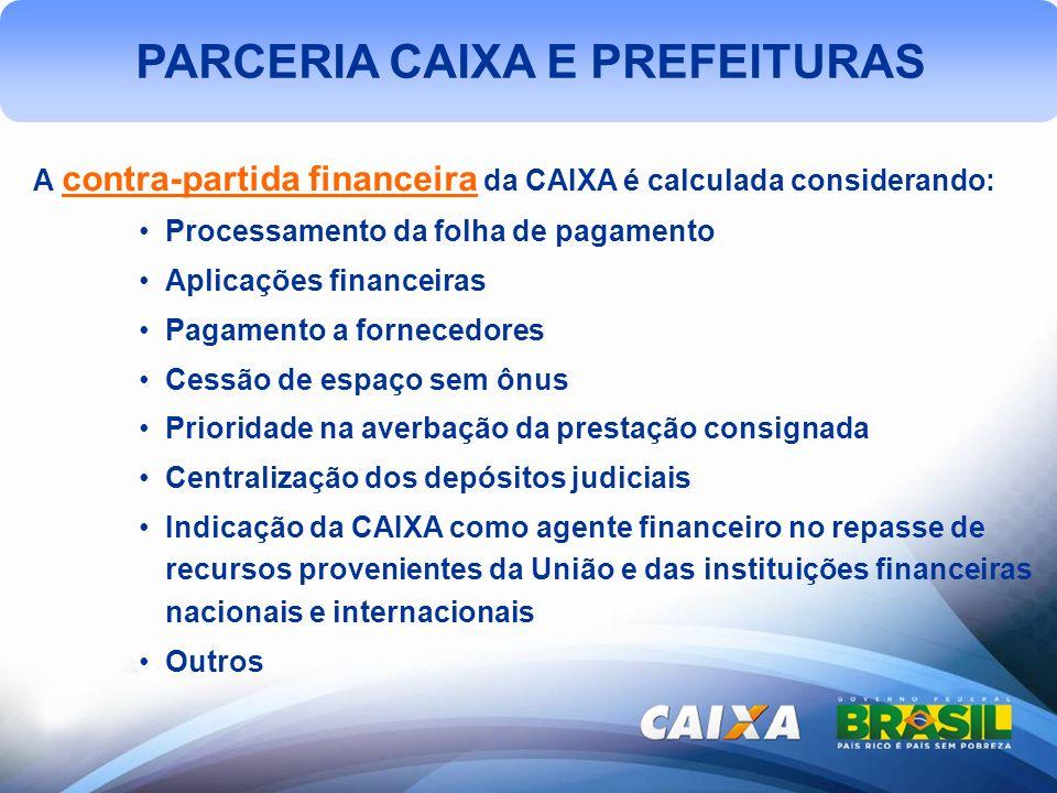 PARCERIA CAIXA E PREFEITURAS A contra-partida financeira da CAIXA é calculada considerando: Processamento da folha de pagamento Aplicações financeiras