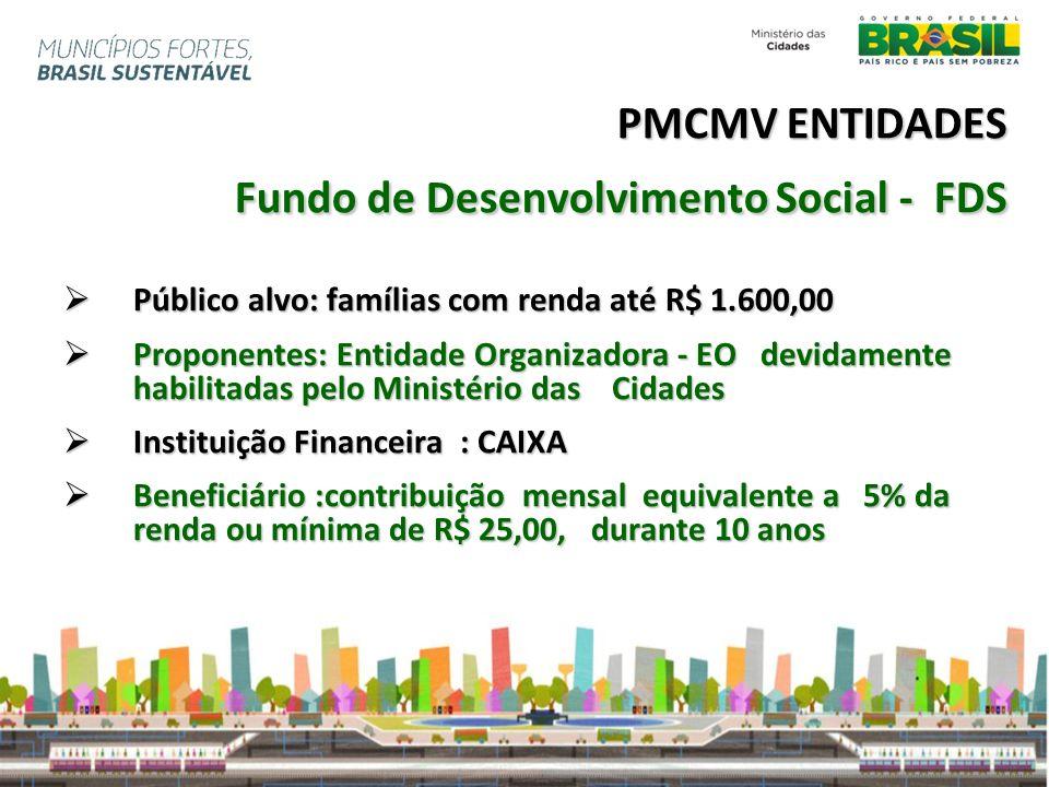 PMCMV ENTIDADES Fundo de Desenvolvimento Social - FDS Público alvo: famílias com renda até R$ 1.600,00 Público alvo: famílias com renda até R$ 1.600,0