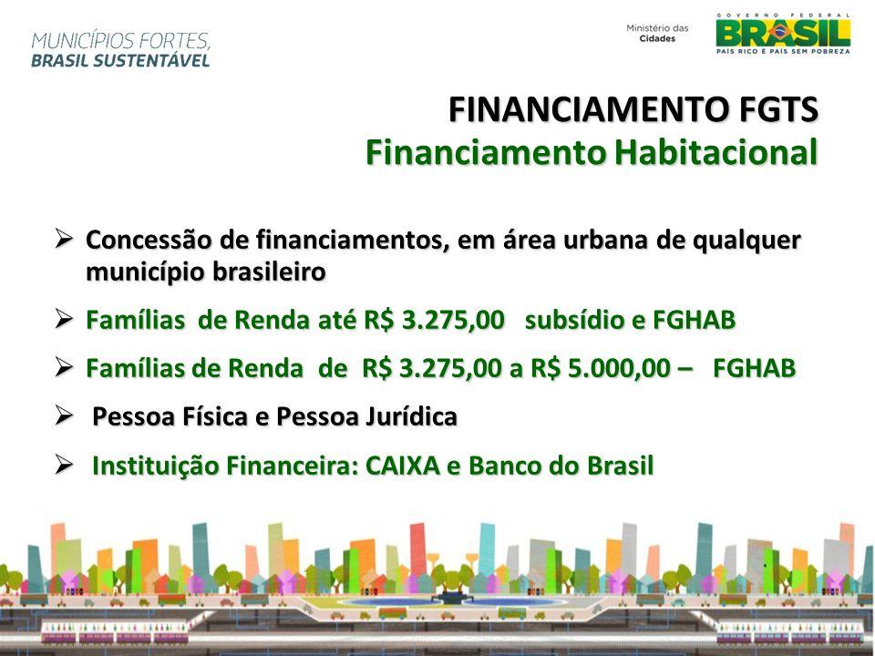 FINANCIAMENTO FGTS Financiamento Habitacional Concessão de financiamentos, em área urbana de qualquer município brasileiro Concessão de financiamentos