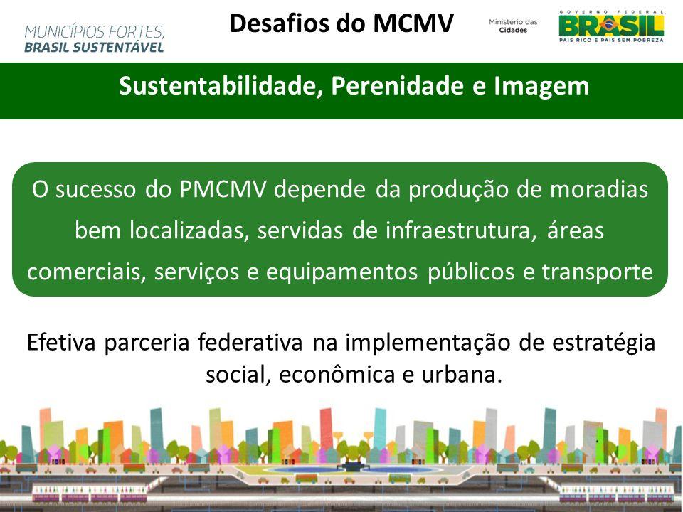 Sustentabilidade, Perenidade e Imagem O sucesso do PMCMV depende da produção de moradias bem localizadas, servidas de infraestrutura, áreas comerciais