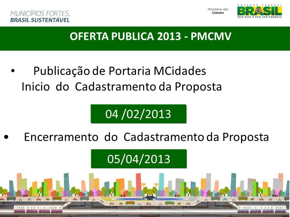 Publicação de Portaria MCidades Inicio do Cadastramento da Proposta 04 /02/2013 OFERTA PUBLICA 2013 - PMCMV Encerramento do Cadastramento da Proposta