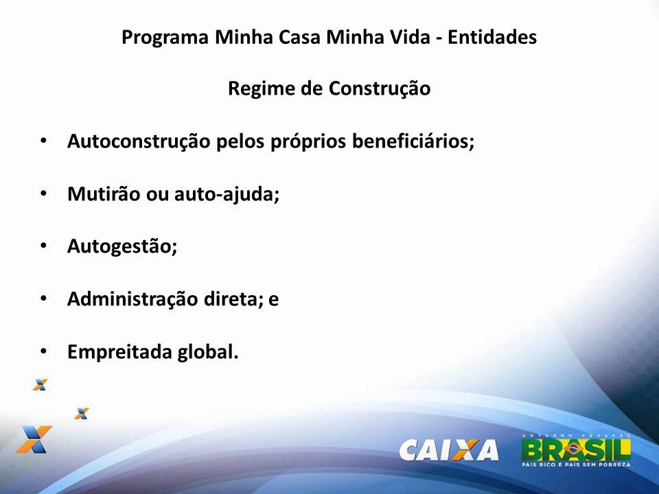Programa Minha Casa Minha Vida - Entidades Regime de Construção Autoconstrução pelos próprios beneficiários; Mutirão ou auto-ajuda; Autogestão; Admini