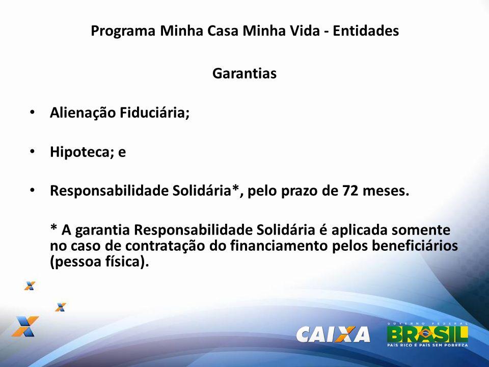 Programa Minha Casa Minha Vida - Entidades Garantias Alienação Fiduciária; Hipoteca; e Responsabilidade Solidária*, pelo prazo de 72 meses. * A garant