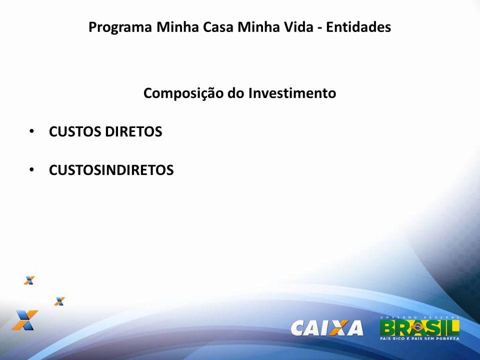 Programa Minha Casa Minha Vida - Entidades Composição do Investimento CUSTOS DIRETOS CUSTOSINDIRETOS