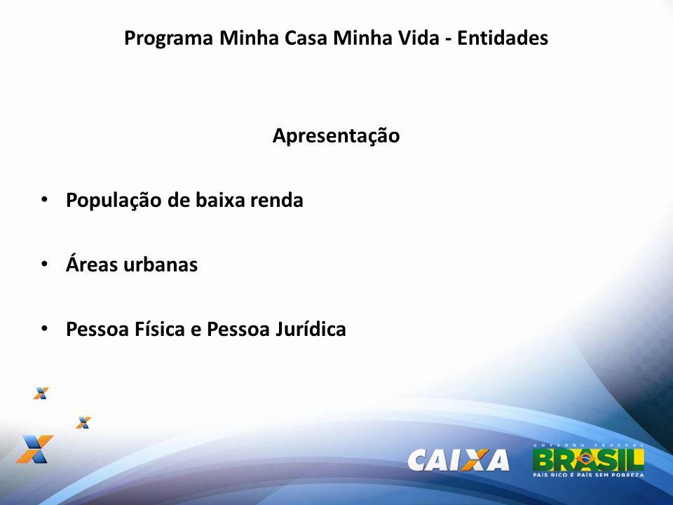 Programa Minha Casa Minha Vida - Entidades Apresentação População de baixa renda Áreas urbanas Pessoa Física e Pessoa Jurídica