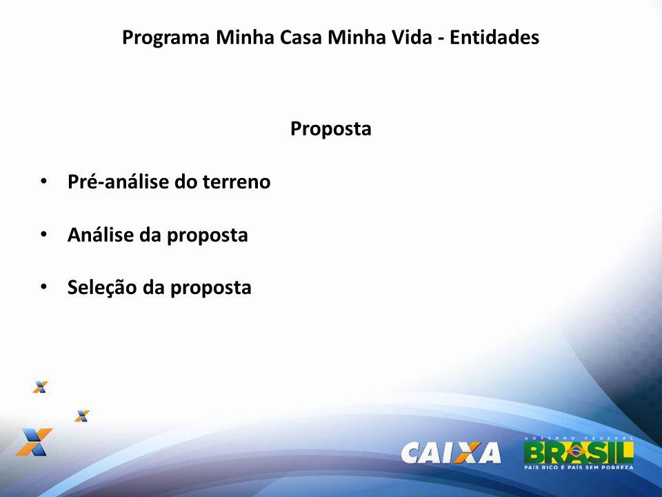 Programa Minha Casa Minha Vida - Entidades Proposta Pré-análise do terreno Análise da proposta Seleção da proposta