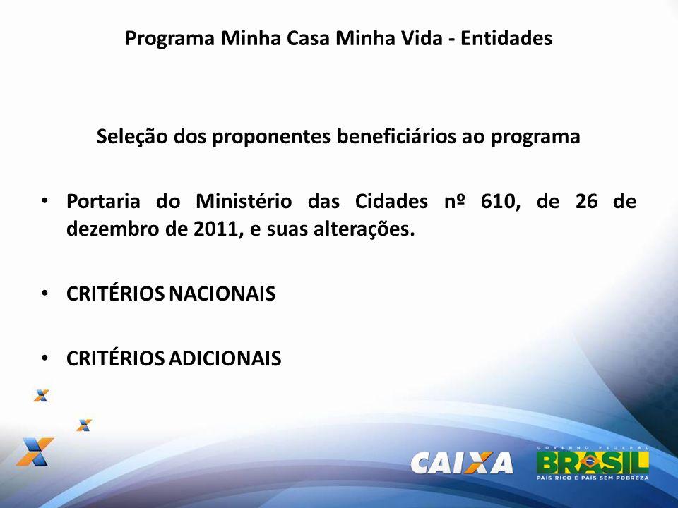 Programa Minha Casa Minha Vida - Entidades Seleção dos proponentes beneficiários ao programa Portaria do Ministério das Cidades nº 610, de 26 de dezem