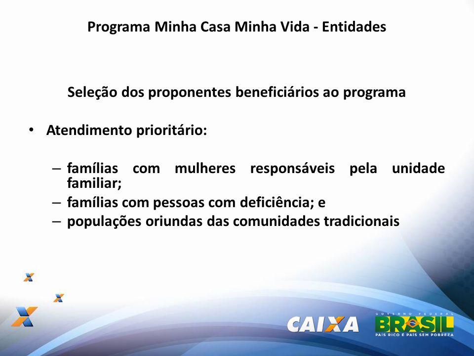 Programa Minha Casa Minha Vida - Entidades Seleção dos proponentes beneficiários ao programa Atendimento prioritário: – famílias com mulheres responsá
