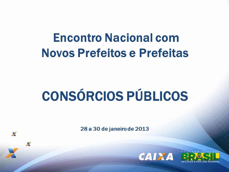 Encontro Nacional com Novos Prefeitos e Prefeitas 28 a 30 de janeiro de 2013 CONSÓRCIOS PÚBLICOS