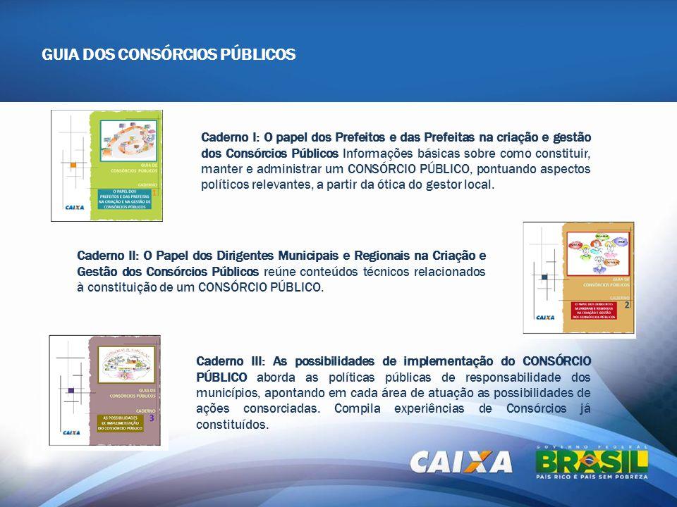 Caderno I: O papel dos Prefeitos e das Prefeitas na criação e gestão dos Consórcios Públicos Informações básicas sobre como constituir, manter e admin
