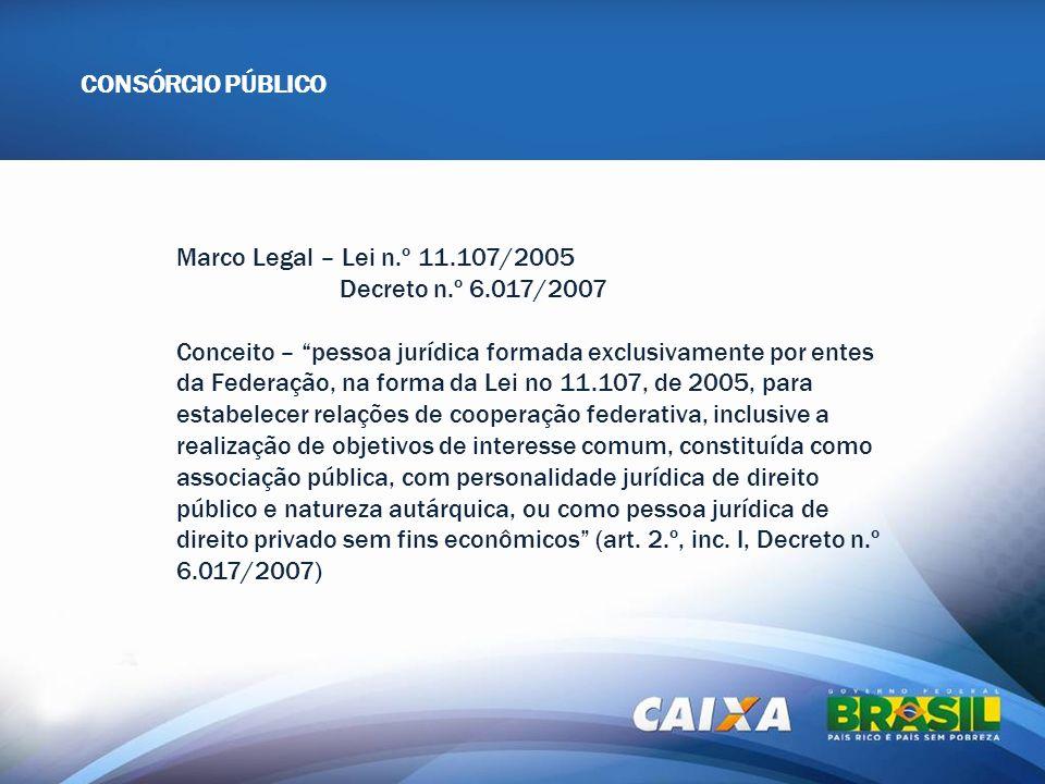 APRESENTAÇÃO OCPF Marco Legal – Lei n.º 11.107/2005 Decreto n.º 6.017/2007 Conceito – pessoa jurídica formada exclusivamente por entes da Federação, n