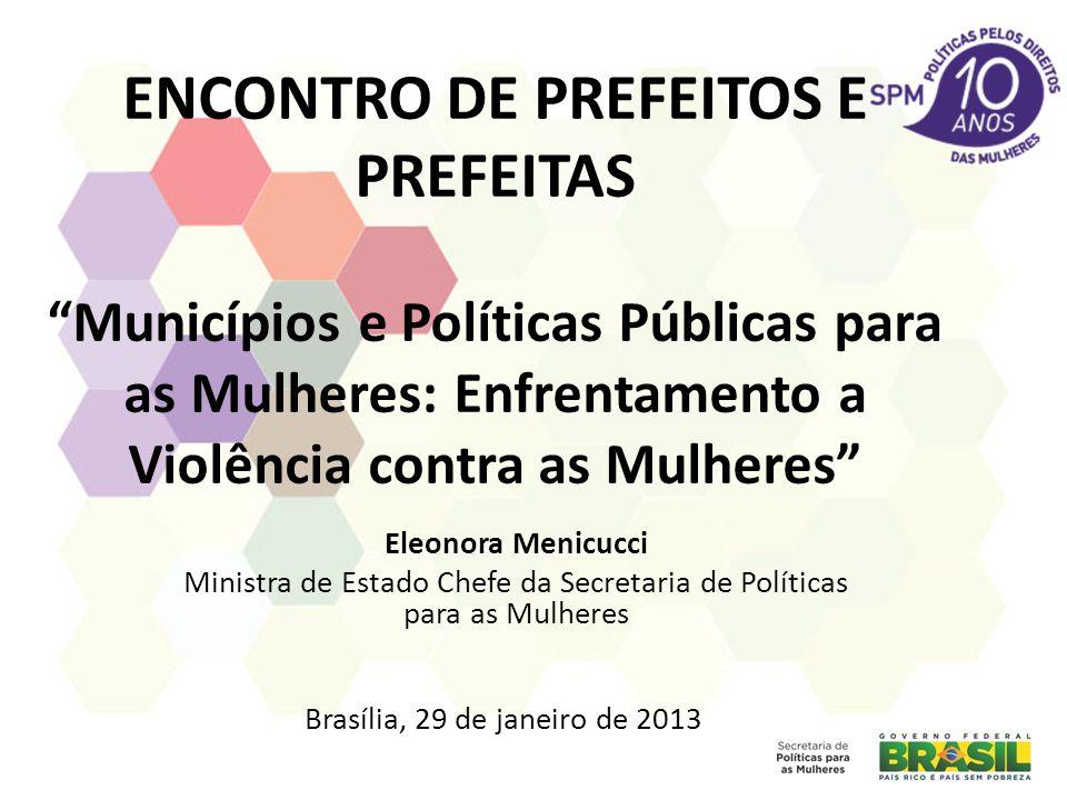 ENCONTRO DE PREFEITOS E PREFEITAS Municípios e Políticas Públicas para as Mulheres: Enfrentamento a Violência contra as Mulheres Eleonora Menicucci Mi