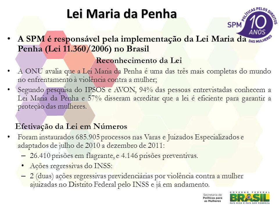Lei Maria da Penha A SPM é responsável pela implementação da Lei Maria da Penha (Lei 11.360/2006) no Brasil Reconhecimento da Lei A ONU avalia que a L