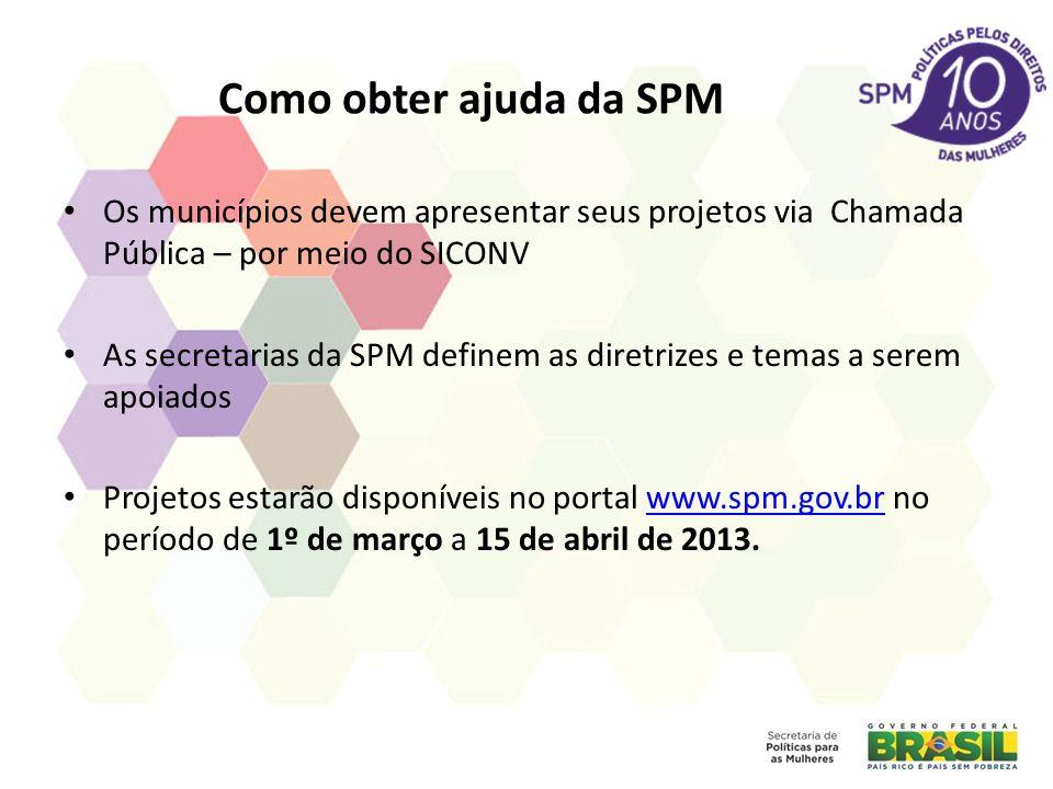 Como obter ajuda da SPM Os municípios devem apresentar seus projetos via Chamada Pública – por meio do SICONV As secretarias da SPM definem as diretri