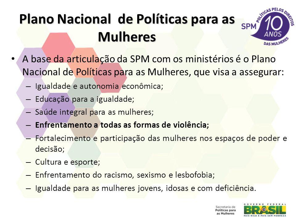 Plano Nacional de Políticas para as Mulheres A base da articulação da SPM com os ministérios é o Plano Nacional de Políticas para as Mulheres, que vis