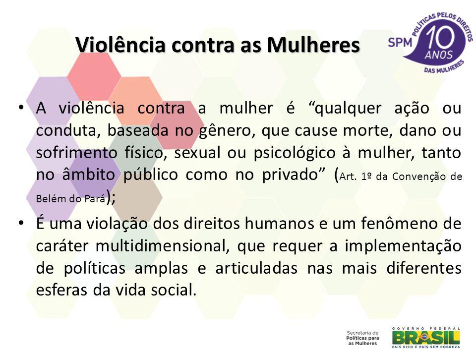 Violência contra as Mulheres A violência contra a mulher é qualquer ação ou conduta, baseada no gênero, que cause morte, dano ou sofrimento físico, se
