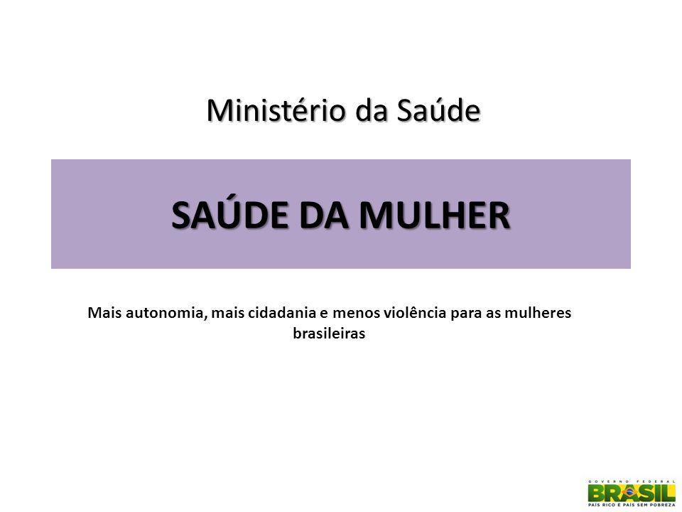 SAÚDE DA MULHER Mais autonomia, mais cidadania e menos violência para as mulheres brasileiras Ministério da Saúde