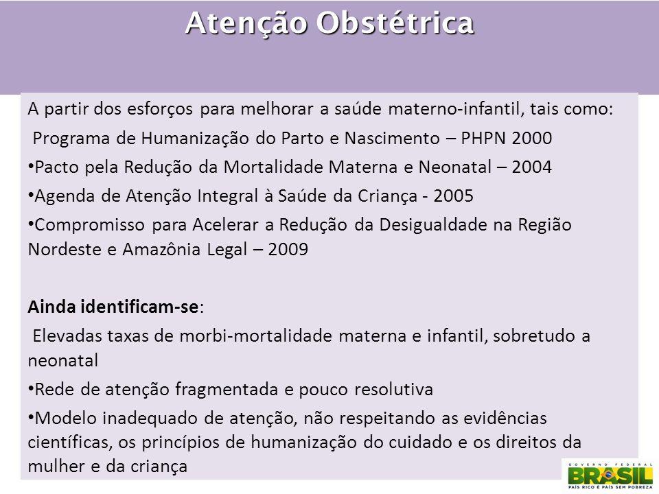 Atenção Obstétrica A partir dos esforços para melhorar a saúde materno-infantil, tais como: Programa de Humanização do Parto e Nascimento – PHPN 2000