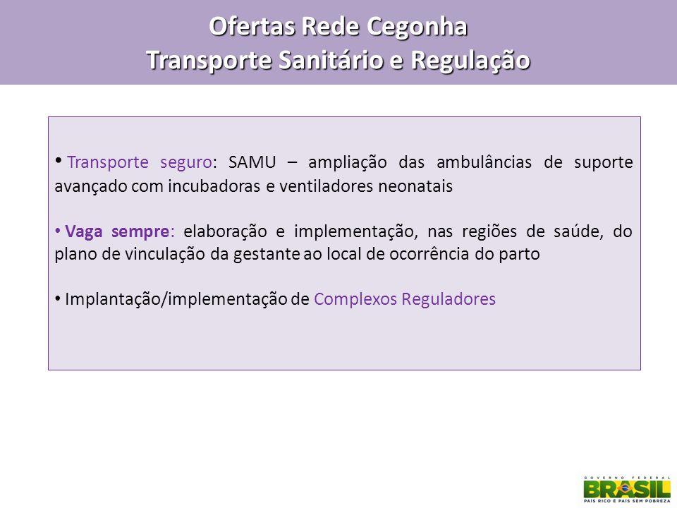 Ofertas Rede Cegonha Transporte Sanitário e Regulação Transporte seguro: SAMU – ampliação das ambulâncias de suporte avançado com incubadoras e ventil