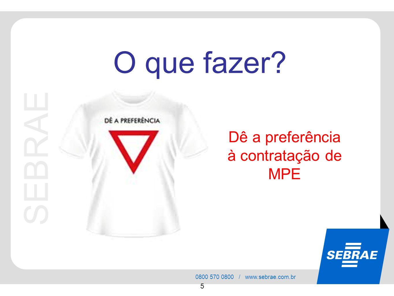 SEBRAE 0800 570 0800 / www.sebrae.com.br 5 Dê a preferência à contratação de MPE O que fazer