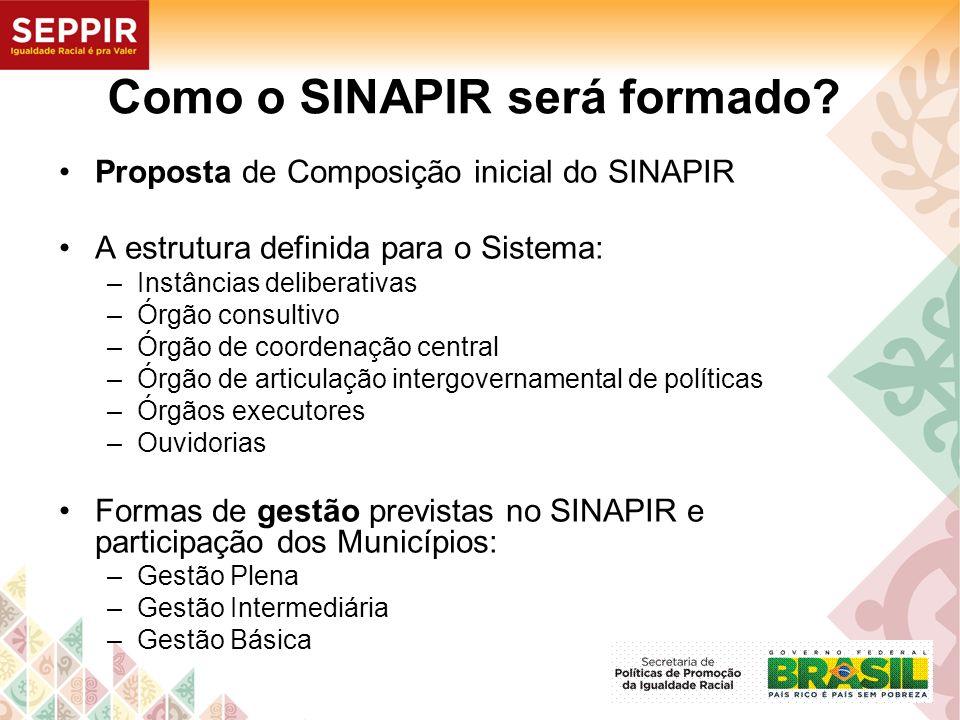 Como o SINAPIR será formado? Proposta de Composição inicial do SINAPIR A estrutura definida para o Sistema: –Instâncias deliberativas –Órgão consultiv