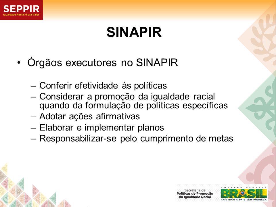 SINAPIR Órgãos executores no SINAPIR –Conferir efetividade às políticas –Considerar a promoção da igualdade racial quando da formulação de políticas e