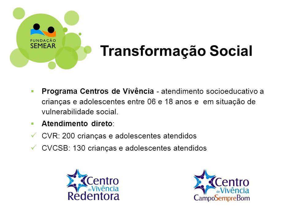 Programa Centros de Vivência - atendimento socioeducativo a crianças e adolescentes entre 06 e 18 anos e em situação de vulnerabilidade social. Atendi