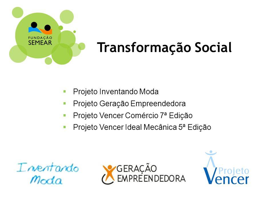 Projeto Inventando Moda Projeto Geração Empreendedora Projeto Vencer Comércio 7ª Edição Projeto Vencer Ideal Mecânica 5ª Edição