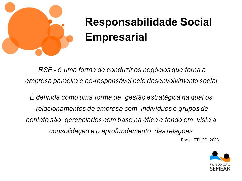 RSE - é uma forma de conduzir os negócios que torna a empresa parceira e co-responsável pelo desenvolvimento social. É definida como uma forma de gest