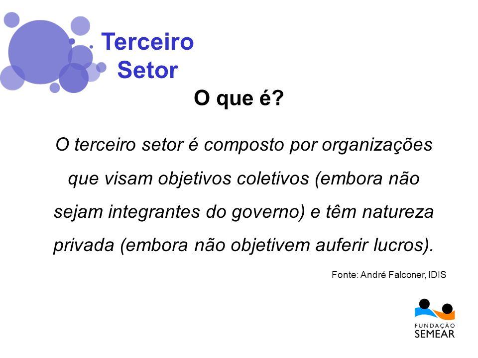 O terceiro setor é composto por organizações que visam objetivos coletivos (embora não sejam integrantes do governo) e têm natureza privada (embora nã