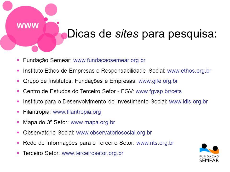Fundação Semear: www.fundacaosemear.org.br Instituto Ethos de Empresas e Responsabilidade Social: www.ethos.org.br Grupo de Institutos, Fundações e Em