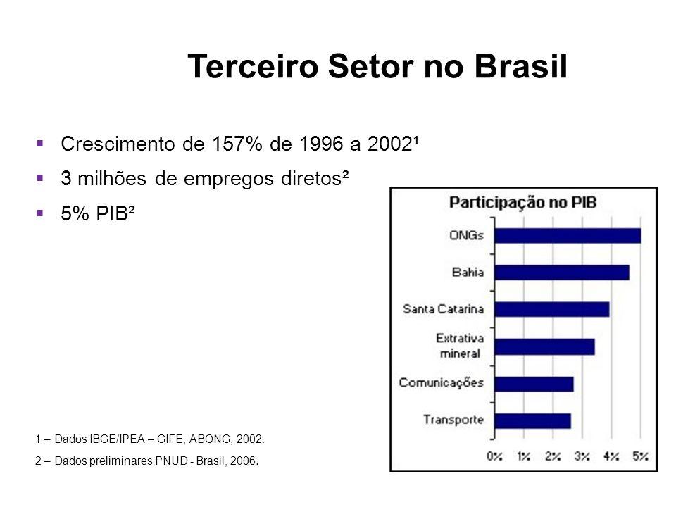 Crescimento de 157% de 1996 a 2002¹ 3 milhões de empregos diretos² 5% PIB² 1 – Dados IBGE/IPEA – GIFE, ABONG, 2002. 2 – Dados preliminares PNUD - Bras