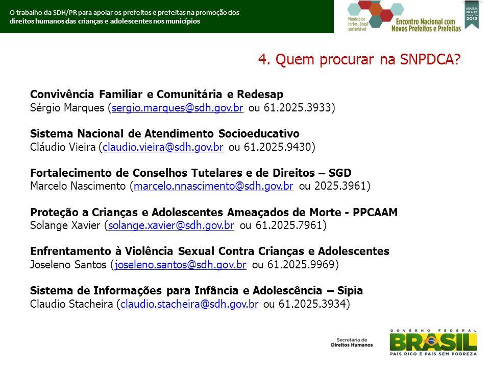 O trabalho da SDH/PR para apoiar os prefeitos e prefeitas na promoção dos direitos humanos das crianças e adolescentes nos municípios 4.