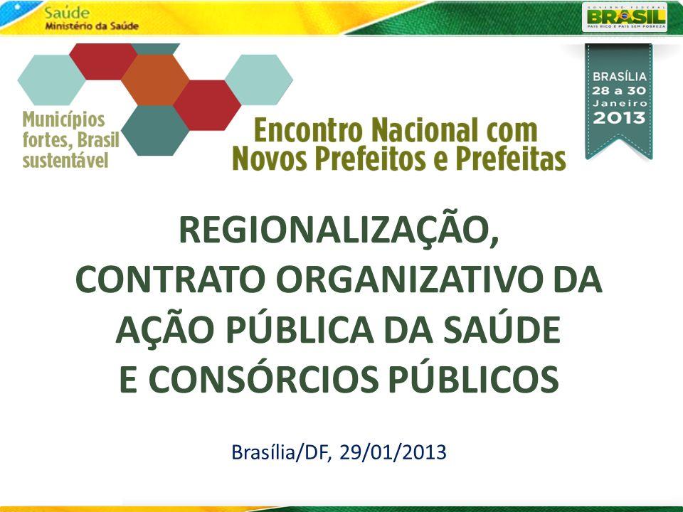 REGIONALIZAÇÃO, CONTRATO ORGANIZATIVO DA AÇÃO PÚBLICA DA SAÚDE E CONSÓRCIOS PÚBLICOS Brasília/DF, 29/01/2013