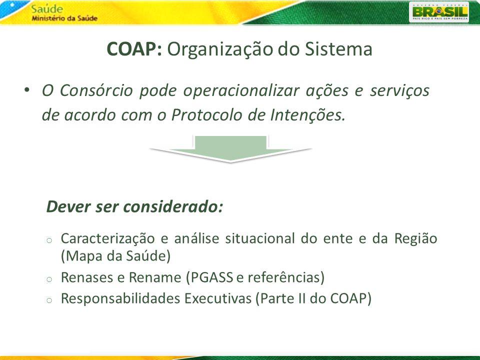 O Consórcio pode operacionalizar ações e serviços de acordo com o Protocolo de Intenções. COAP: Organização do Sistema Dever ser considerado: o Caract