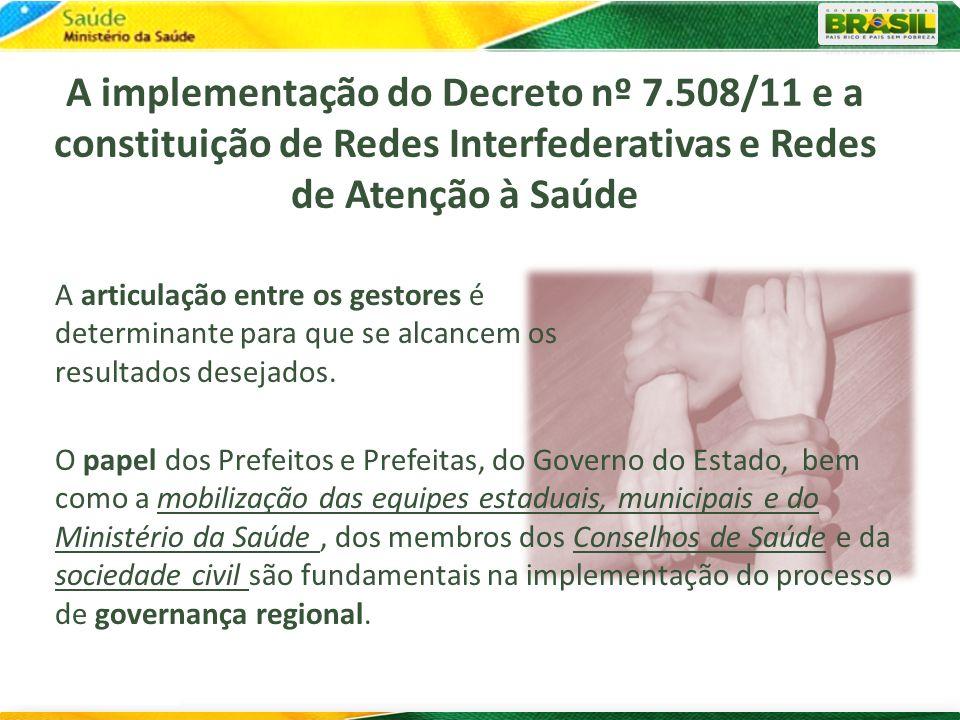 A implementação do Decreto nº 7.508/11 e a constituição de Redes Interfederativas e Redes de Atenção à Saúde A articulação entre os gestores é determi