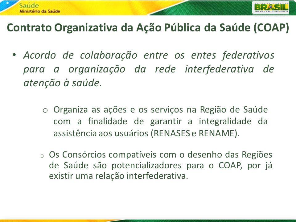 Acordo de colaboração entre os entes federativos para a organização da rede interfederativa de atenção à saúde. o Organiza as ações e os serviços na R