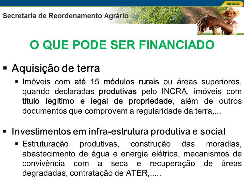 O QUE PODE SER FINANCIADO Aquisição de terra Imóveis com até 15 módulos rurais ou áreas superiores, quando declaradas produtivas pelo INCRA, imóveis c