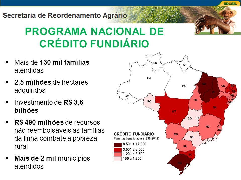 Mais de 130 mil famílias atendidas 2,5 milhões de hectares adquiridos Investimento de R$ 3,6 bilhões R$ 490 milhões de recursos não reembolsáveis as f