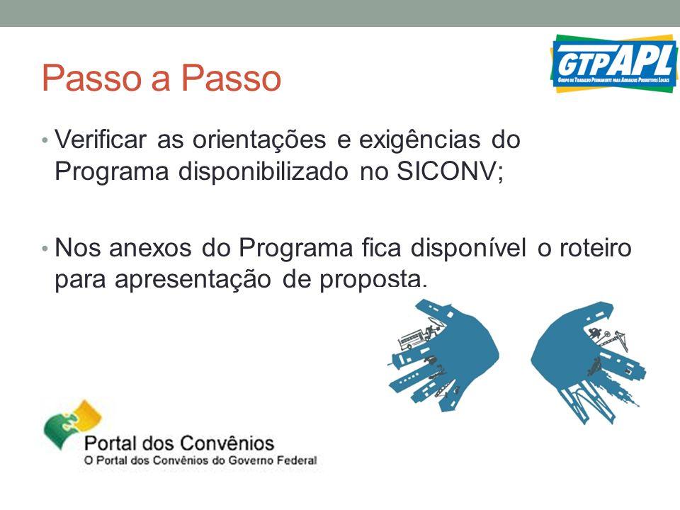 Passo a Passo Verificar as orientações e exigências do Programa disponibilizado no SICONV; Nos anexos do Programa fica disponível o roteiro para apres