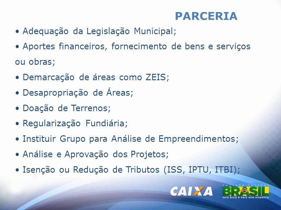 PARCERIA Adequação da Legislação Municipal; Aportes financeiros, fornecimento de bens e serviços ou obras; Demarcação de áreas como ZEIS; Desapropriaç