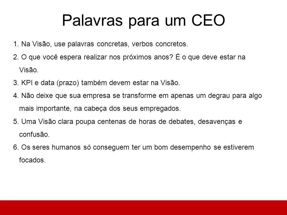 Palavras para um CEO 1. Na Visão, use palavras concretas, verbos concretos.
