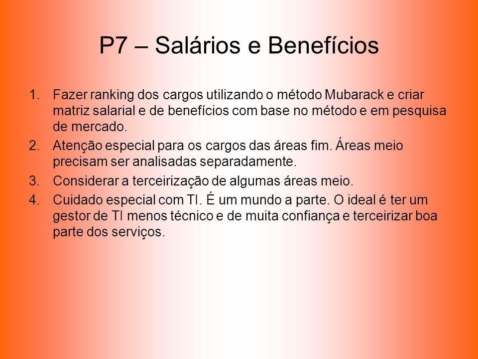 P7 – Salários e Benefícios 1.Fazer ranking dos cargos utilizando o método Mubarack e criar matriz salarial e de benefícios com base no método e em pes