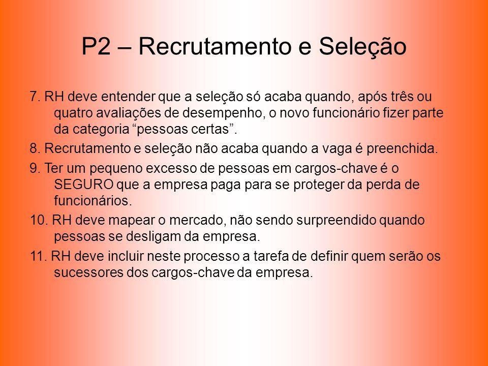 P2 – Recrutamento e Seleção 7. RH deve entender que a seleção só acaba quando, após três ou quatro avaliações de desempenho, o novo funcionário fizer