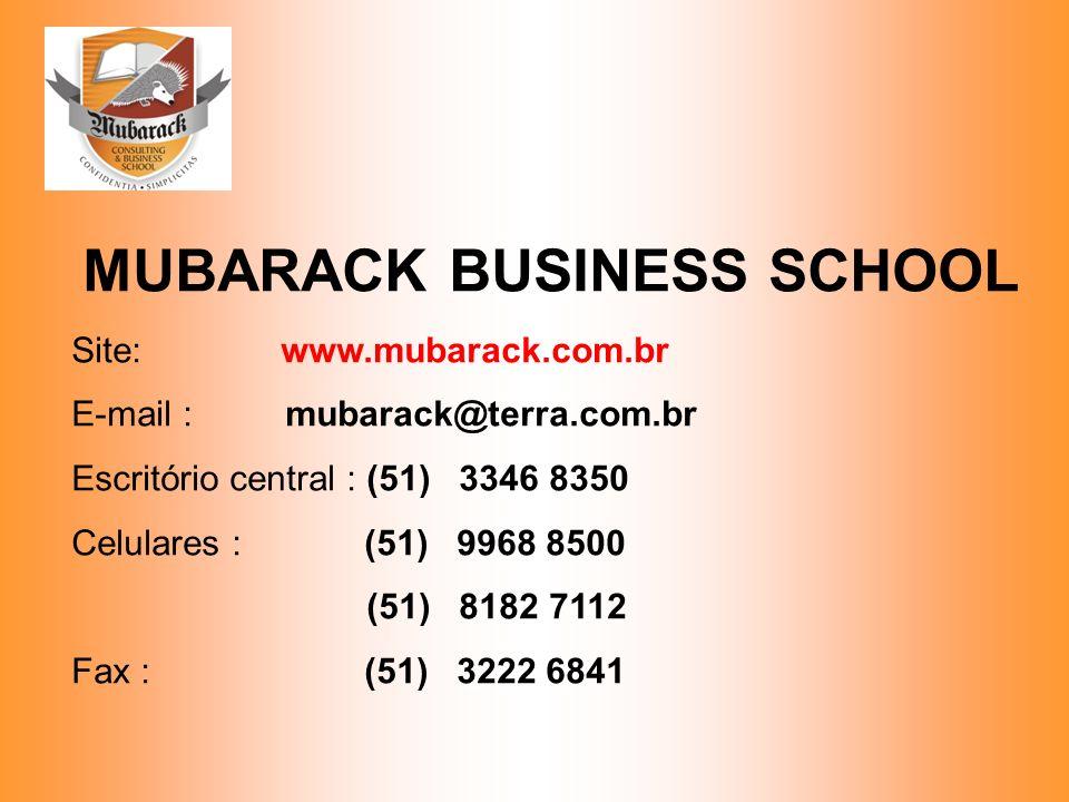 MUBARACK BUSINESS SCHOOL Site: www.mubarack.com.br E-mail :mubarack@terra.com.br Escritório central : (51) 3346 8350 Celulares : (51) 9968 8500 (51) 8182 7112 Fax : (51) 3222 6841