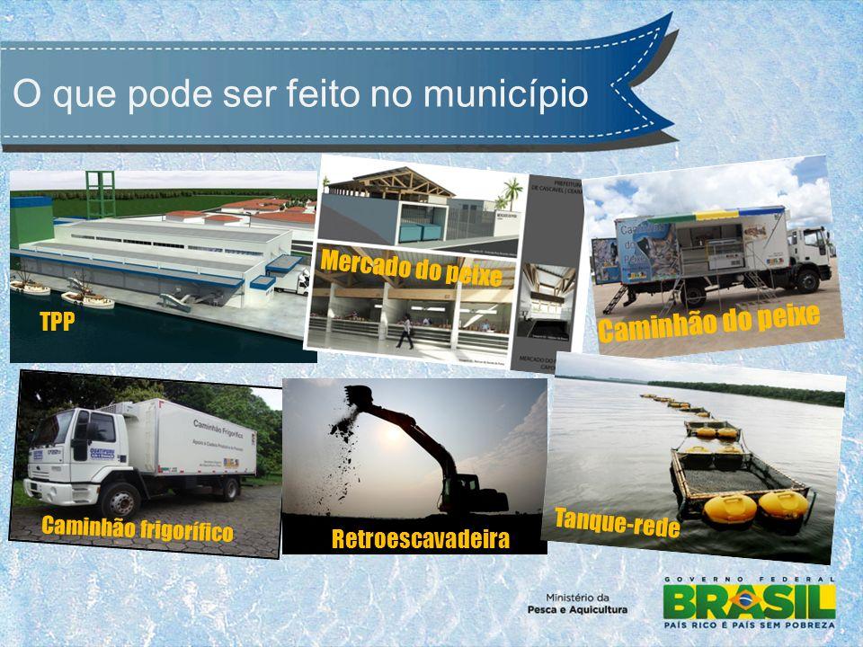 O que pode ser feito no município TPP Mercado do peixe Caminhão do peixe Caminhão frigorífico Retroescavadeira Tanque-rede